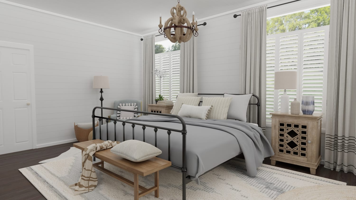 Weekend Retreat: French Country Farmhouse Bedroom Design By Spacejoy