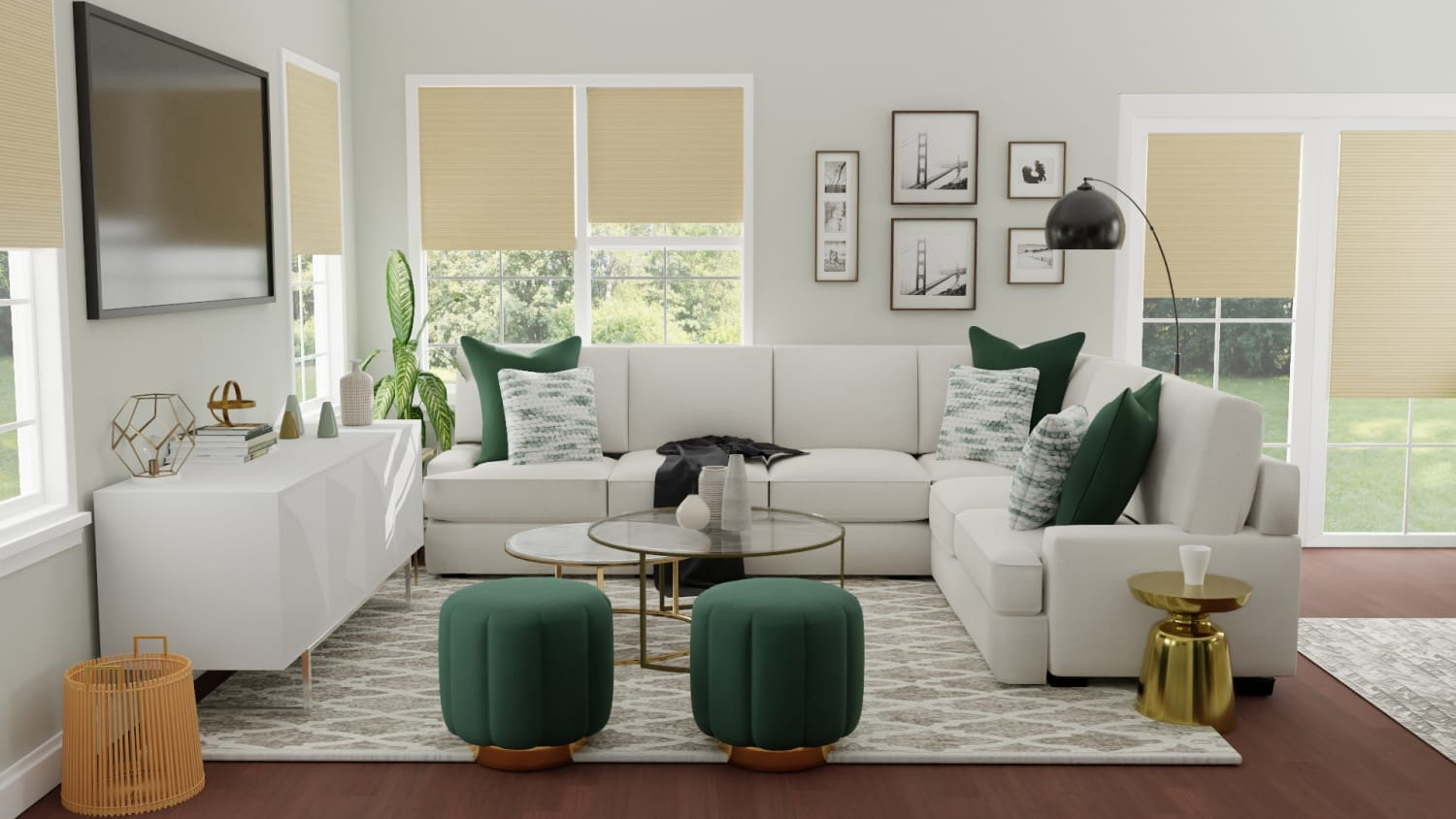 Emerald Accents: Modern Glam Open Plan Living Room Design By Spacejoy