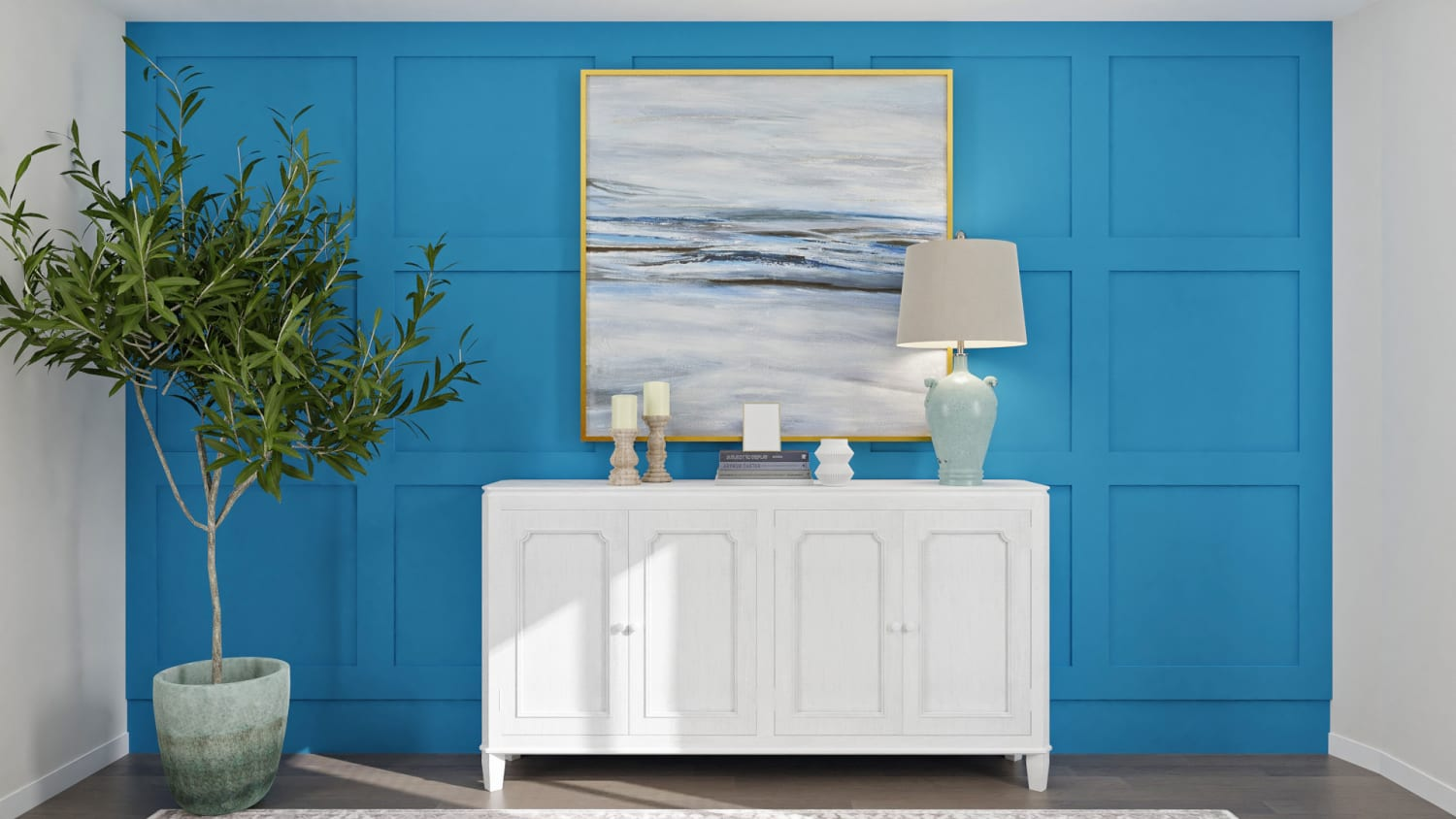 Blue Accent Wall: Traditional Home Office Design By Spacejoy