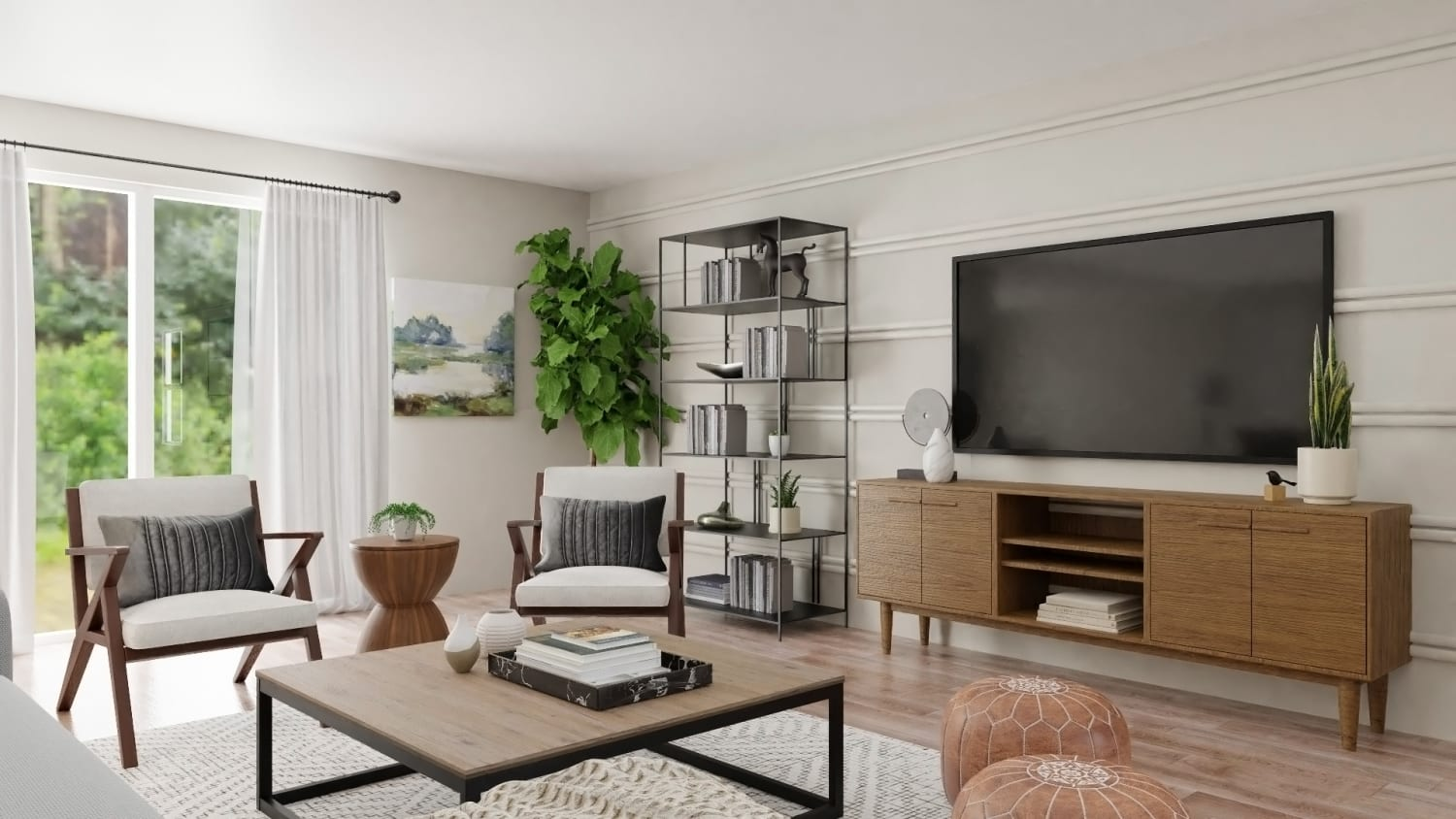Extra Seating: Urban Modern Living Room Design By Spacejoy