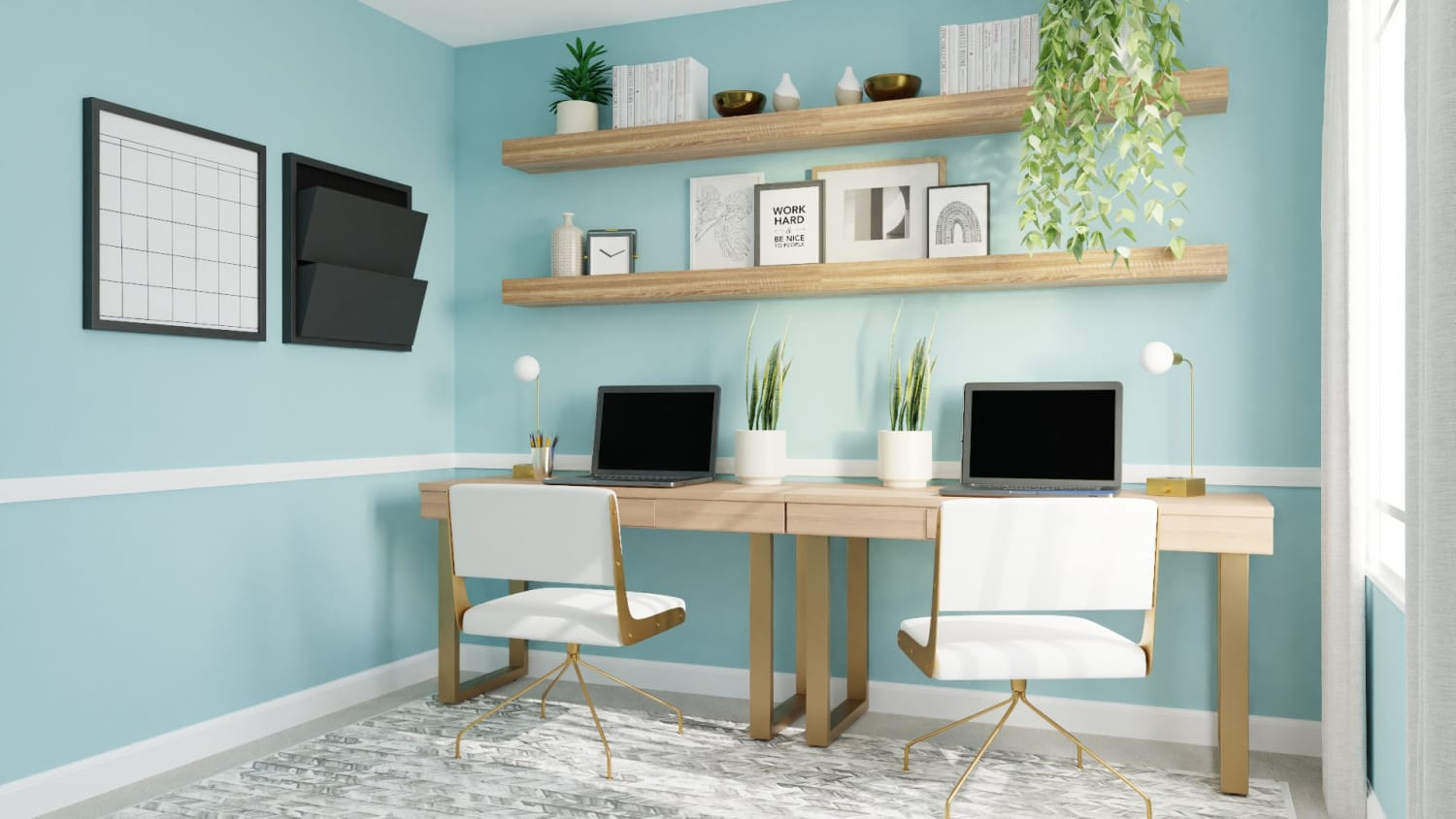 Sea of Aqua:  Mid-Century Boho Home Office Design By Spacejoy