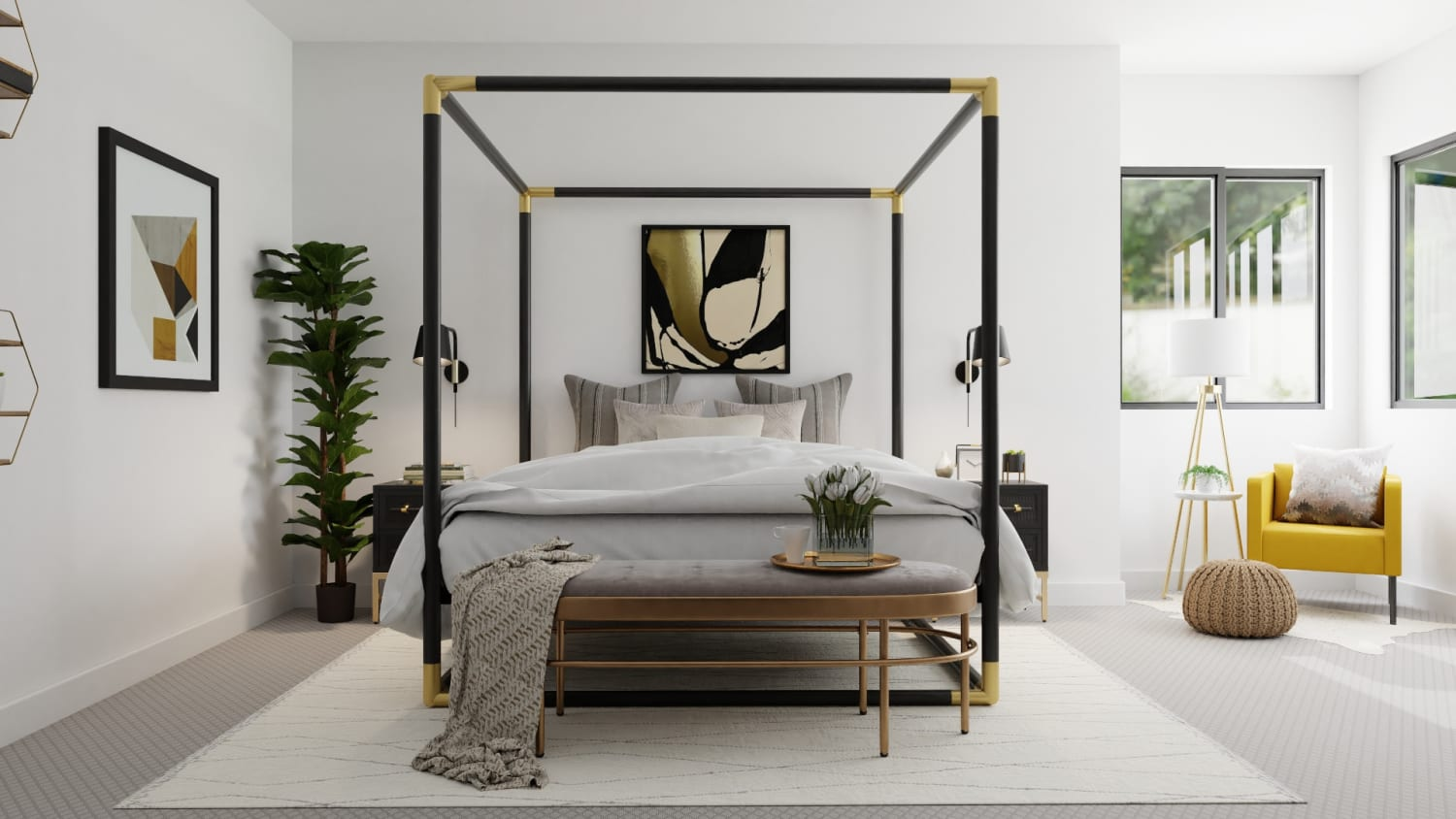 Statement Canopy Bed: Modern Glam Bedroom Design By Spacejoy