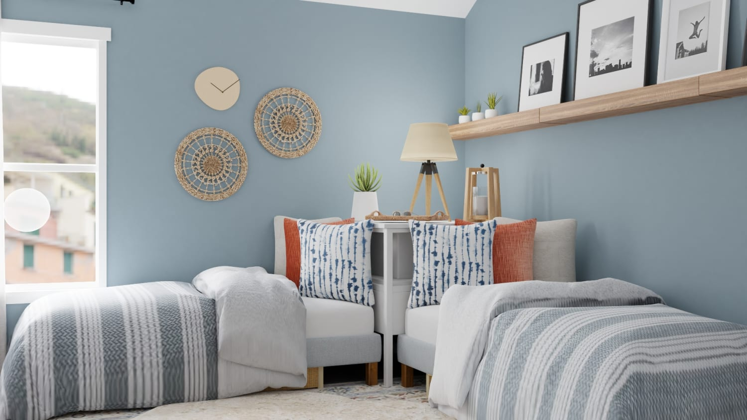 The Perfect Twins Room:  Modern Transitional Kid's Room Design By Spacejoy