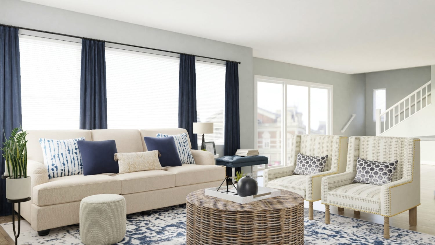 Conversational Seating: Coastal Transitional Living Room Design By Spacejoy