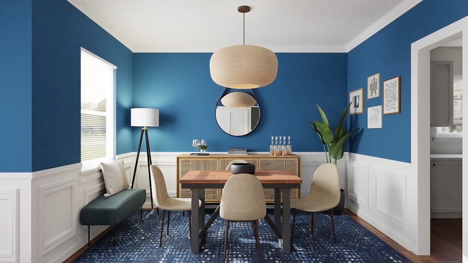 Ultramarine Walls:  Eclectic Transitional Dining Room Design By Spacejoy