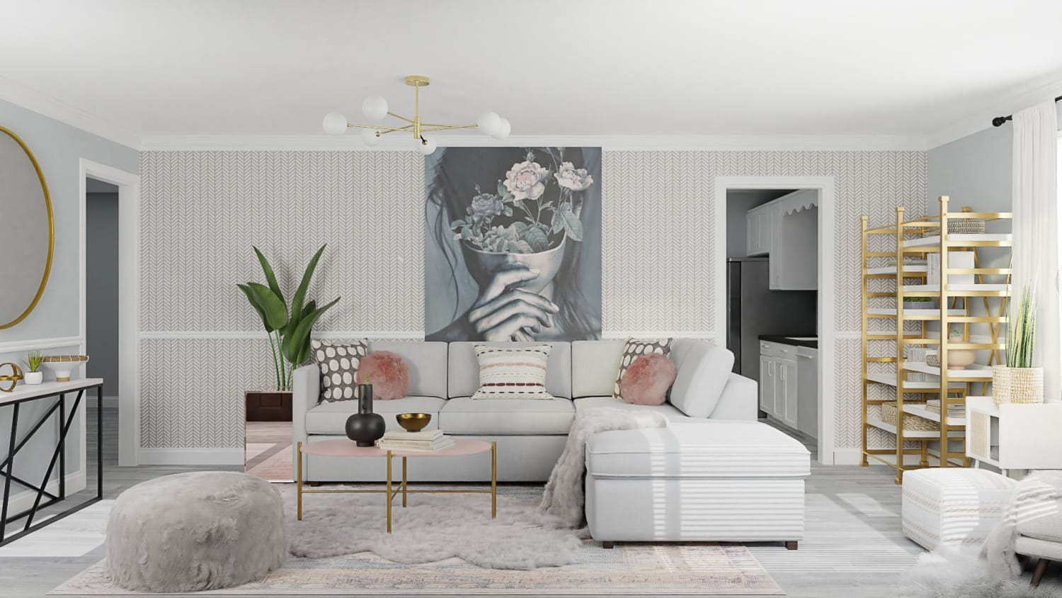 Blush and Gray:  Eclectic Glam Living Room Design By Spacejoy