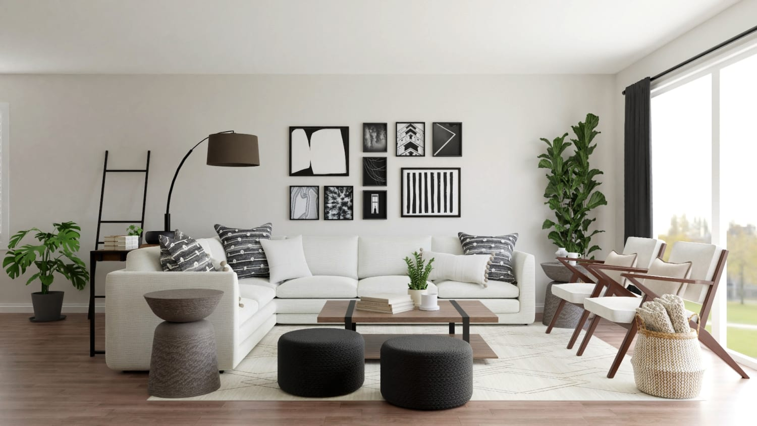 Chic Mid-Century Urban Living Room with Modern Touches Design By Spacejoy
