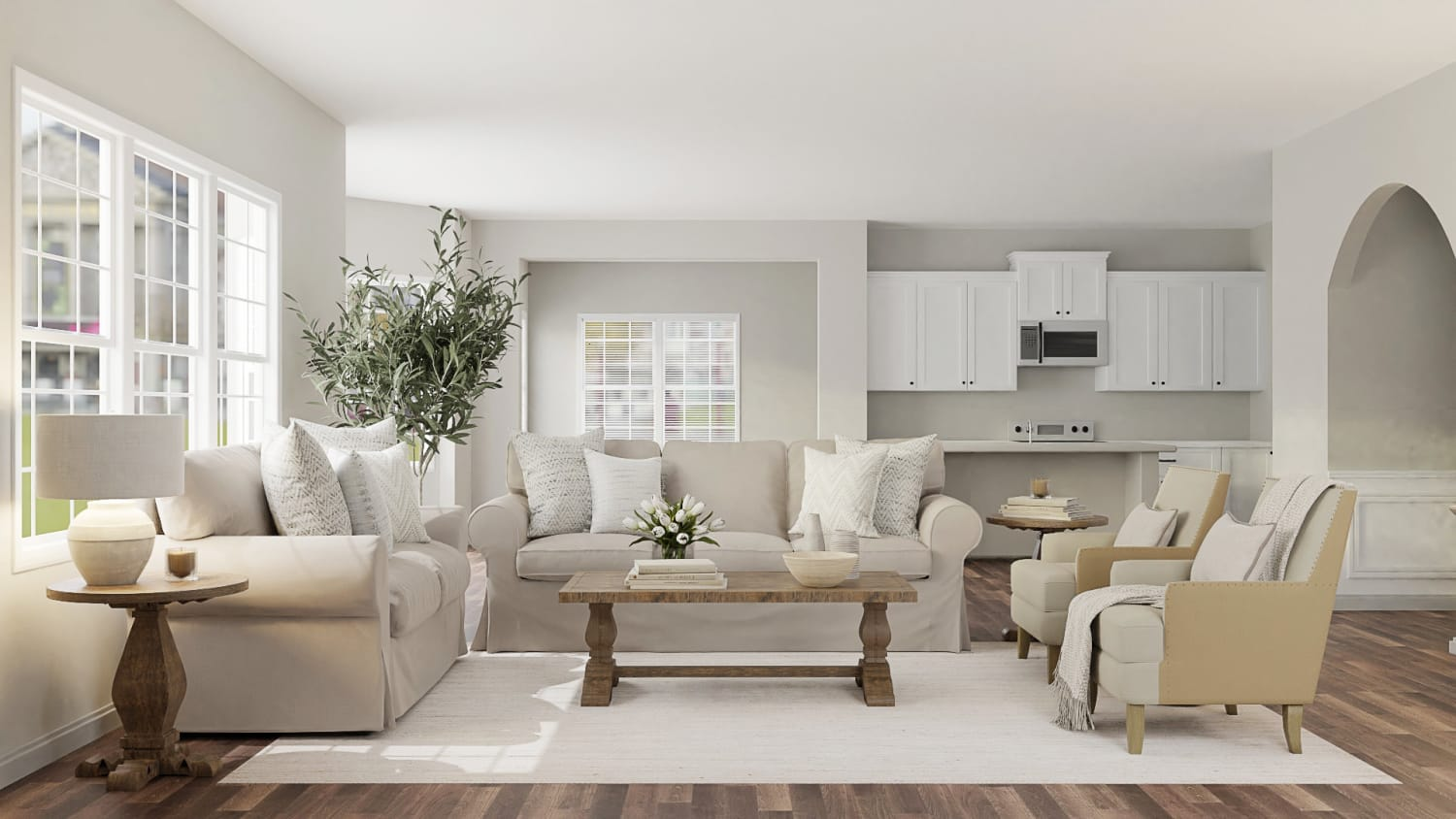 Inviting & Calming Classic Living Room Design By Spacejoy