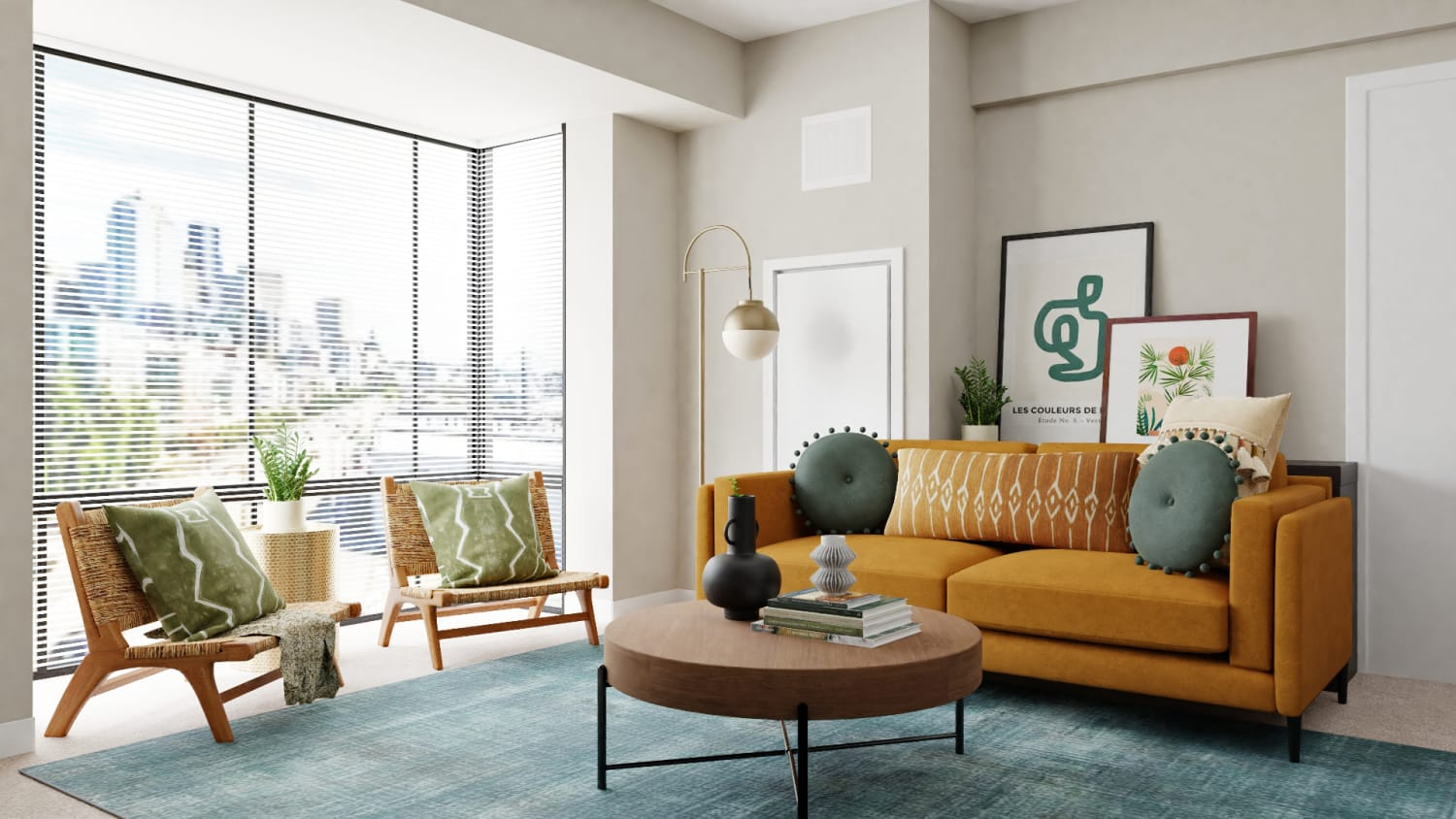 Bold & Sunny Mid-Century Living Room  Design By Spacejoy