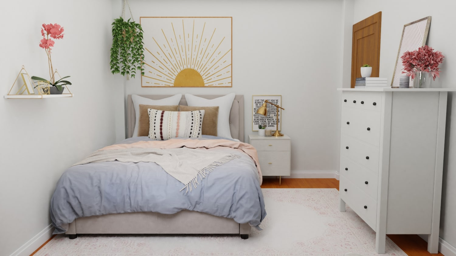 A Small Mid-Century Contemporary Bedroom Maximized with Style Design By Spacejoy
