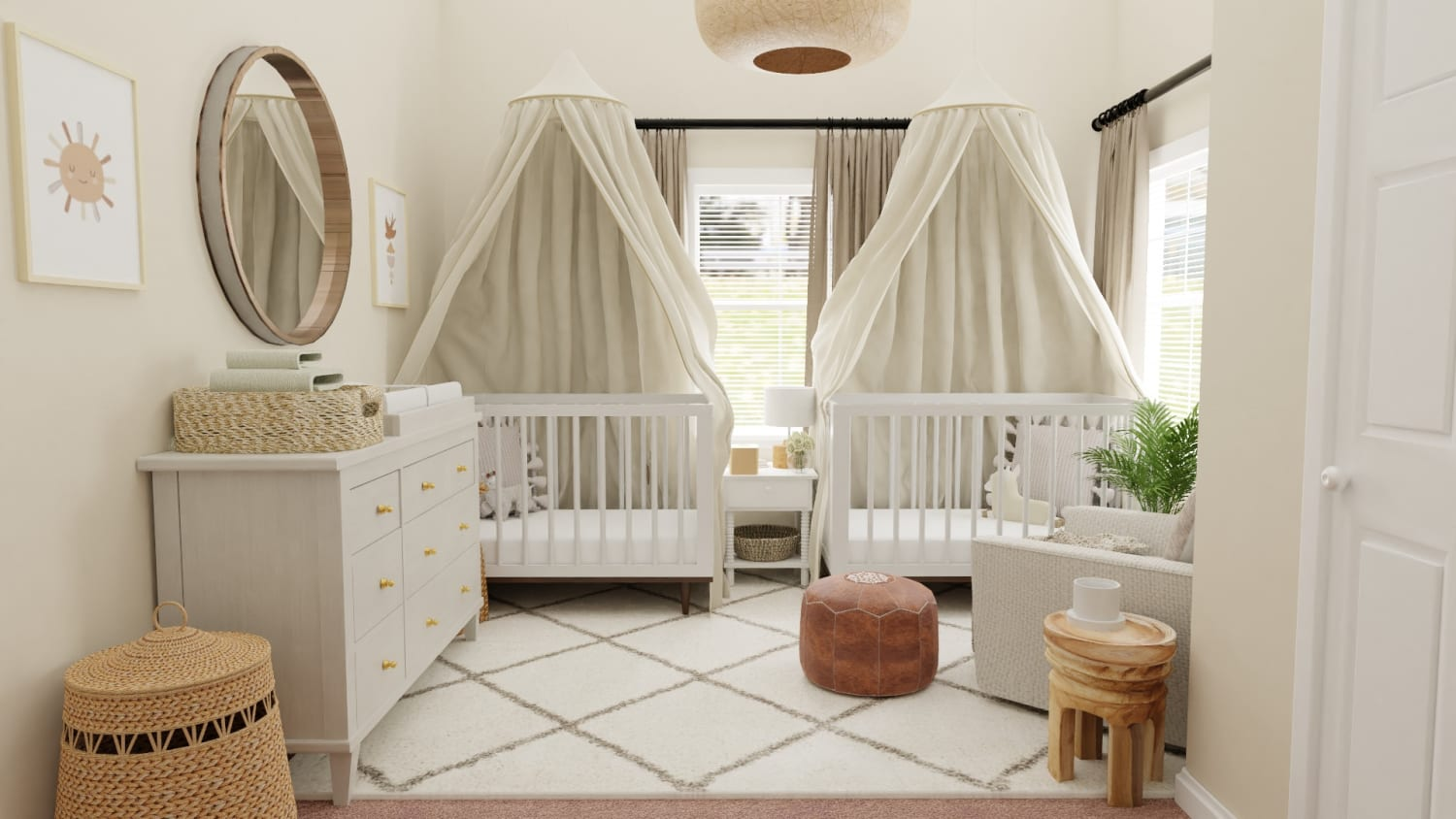 Airy Mid-Century Bohemian Gender-Neutral Nursery with Transitional Design Design By Spacejoy