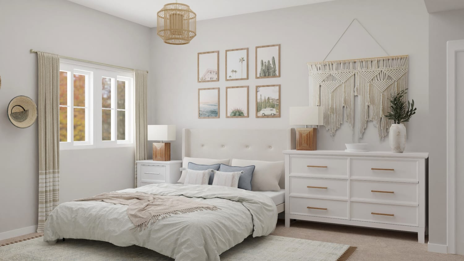 A Dreamy Bohemian Small Bedroom in Neutral Tones Design By Spacejoy