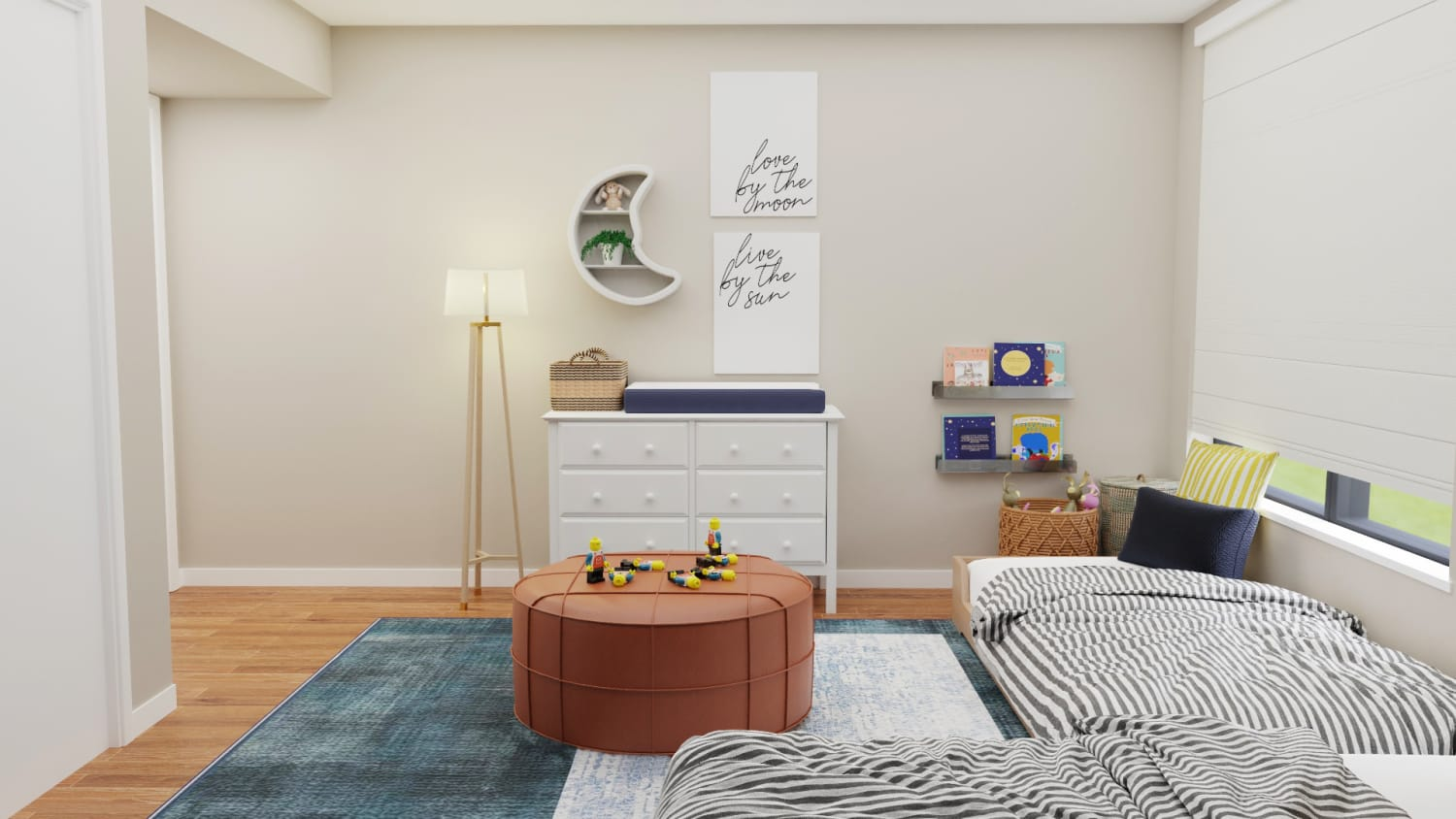 Astrology-Inspired Kid's Bedroom with Plenty of Play Area Design By Spacejoy