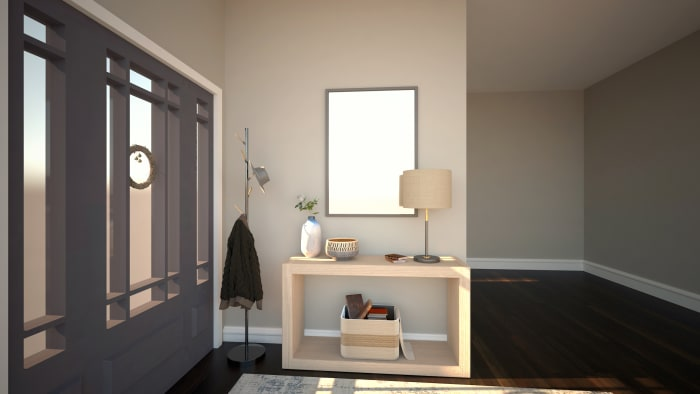 Inviting and Cozy: Modern Farmhouse Entryway Design View 3 By Spacejoy
