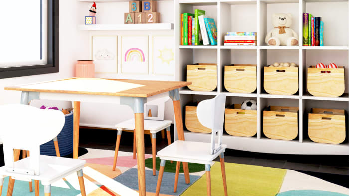Extra Storage: Mid-Century Modern Kid's Playroom Design View 3 By Spacejoy