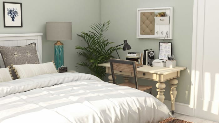 Coastal Farmhouse Guest Bedroom Design View 4 By Spacejoy