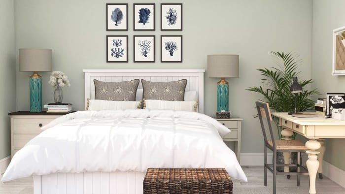 Coastal Farmhouse Guest Bedroom Design View 2 By Spacejoy