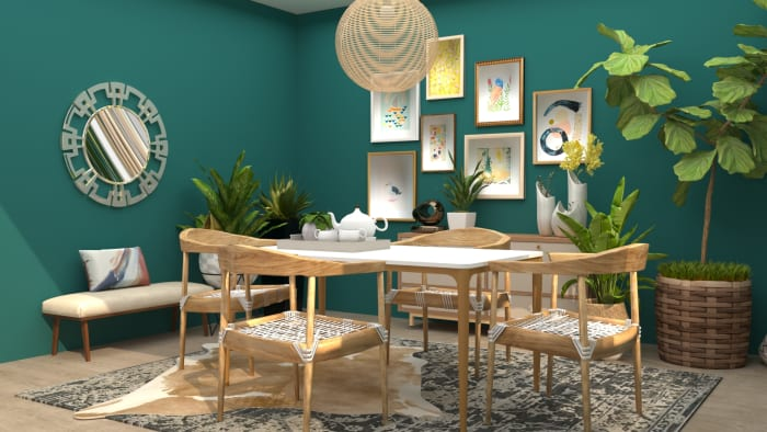 Bold Accents + Nuetral Wood: Mid-Century Eclectic Dining Room Design View 2 By Spacejoy