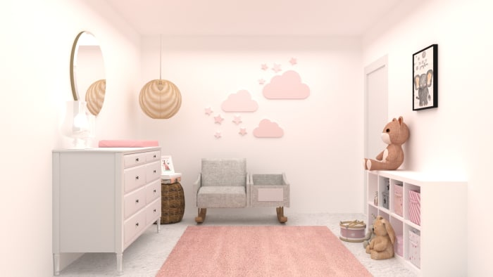 Blush Floral Nursery Design View 3 By Spacejoy