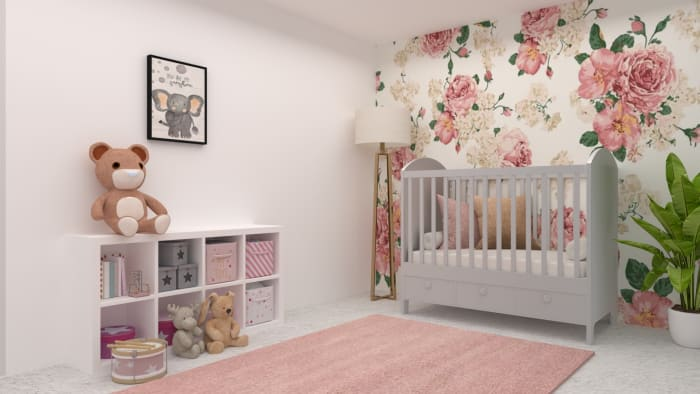 Blush Floral Nursery Design View 2 By Spacejoy