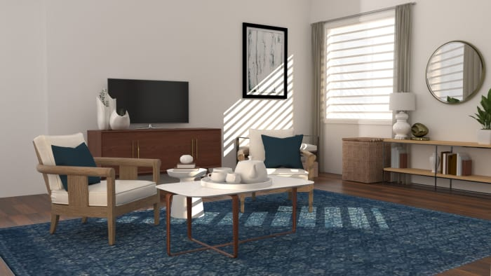 Conversational Layout-Mid-Century Rustic Living Room Design View 2 By Spacejoy