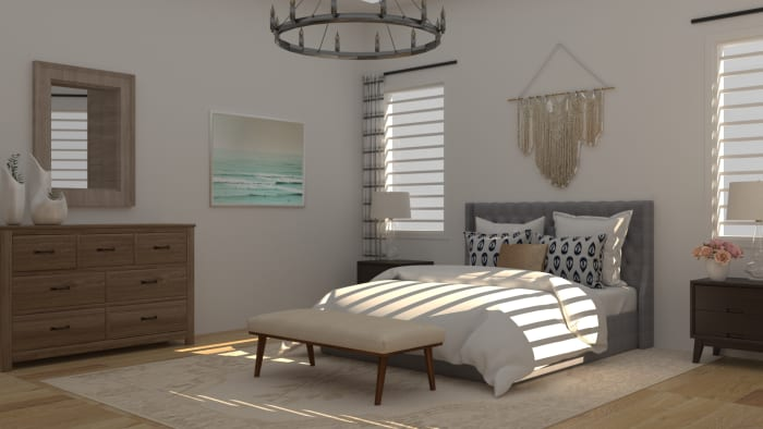 Touch of Costal Mid-Century Rustic Bedroom Design View 3 By Spacejoy