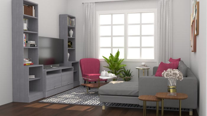 Bold Accents: Modern Eclectic Living Room Design View 2 By Spacejoy