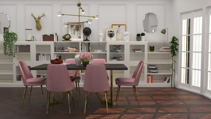 Rose Chic Dining Room Design View 3 By Spacejoy