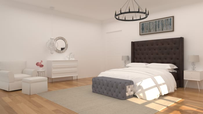 Focal Point Headboard: Modern Transitional Bedroom Design View 2 By Spacejoy