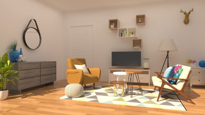 Mid-Century Retro Living Room Design View 2 By Spacejoy