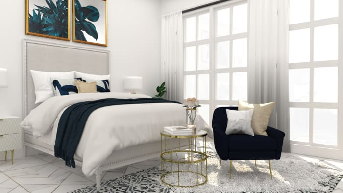 Blue Accents: Glamorous Bedroom Design View 2 By Spacejoy