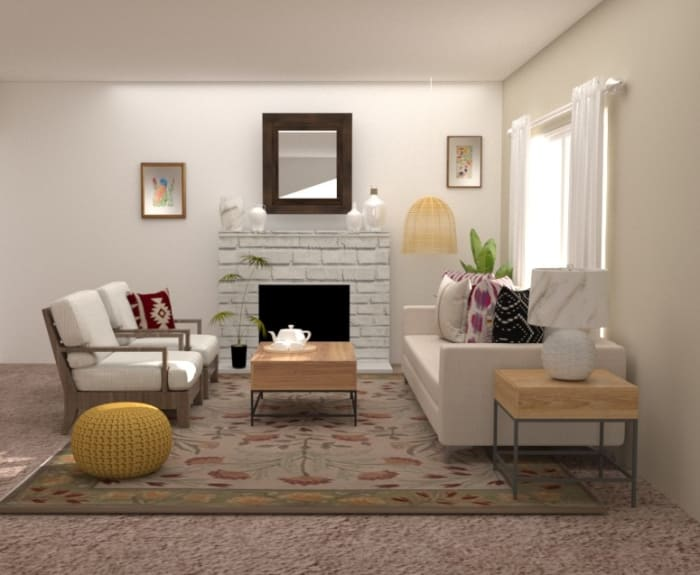 Cozy Urban Farmhouse Living Room Design View 3 By Spacejoy