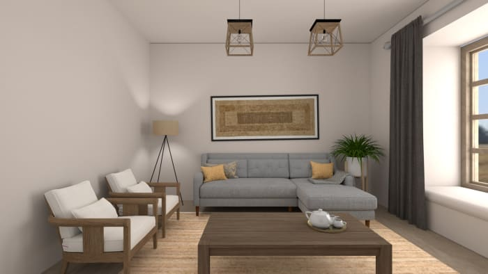 An all Natural Modern Farmhouse Living Room Design View 3 By Spacejoy