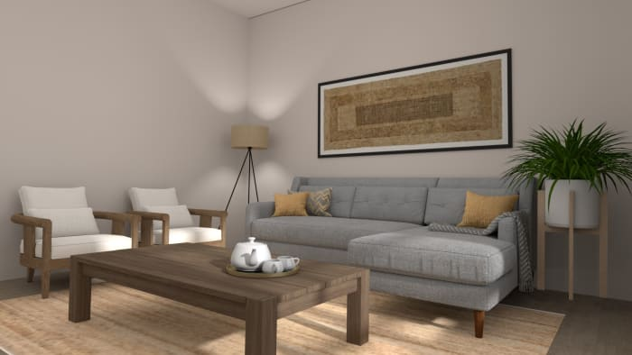 An all Natural Modern Farmhouse Living Room Design View 2 By Spacejoy