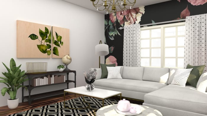 Make A Flower Statement: Elegant Eclectic Living Room Design View 3 By Spacejoy
