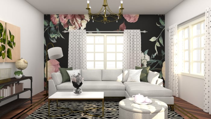 Make A Flower Statement: Elegant Eclectic Living Room Design View 2 By Spacejoy