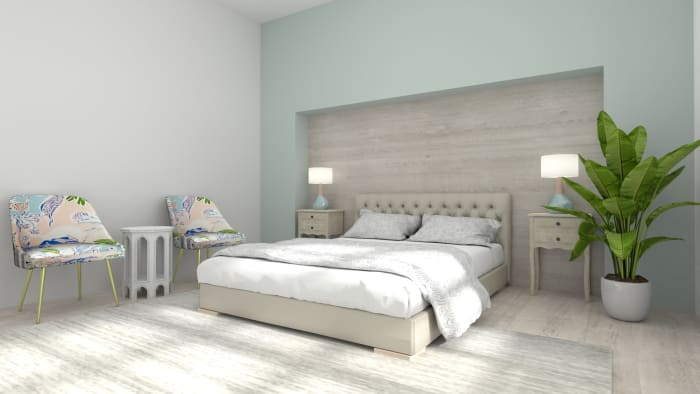Calm Blues: Elegant Farmhouse Bedroom Design View 3 By Spacejoy