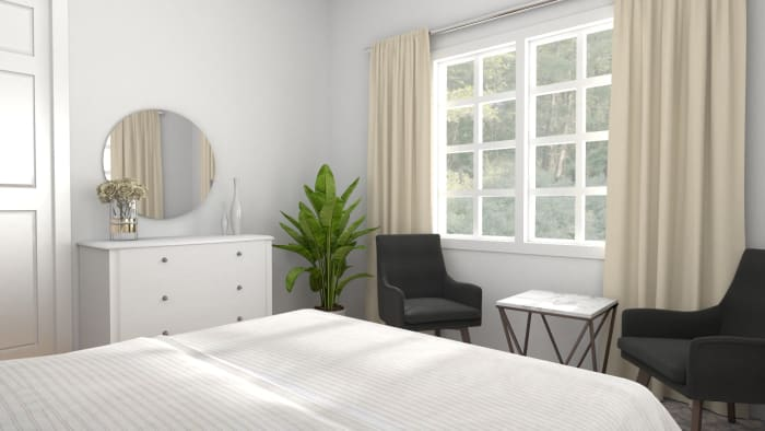 All White: Modern Chic Bedroom Design View 3 By Spacejoy