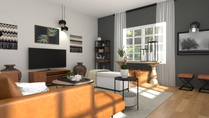An Urban Mid-Century Living Room with Warm Accents Design View 3 By Spacejoy