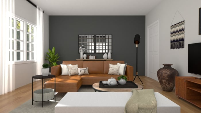 An Urban Mid-Century Living Room with Warm Accents Design View 2 By Spacejoy