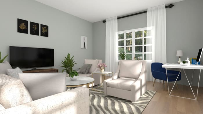 An Elegant and Glam Living Room Designed in a Neutral Palette Design View 4 By Spacejoy