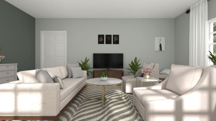 An Elegant and Glam Living Room Designed in a Neutral Palette Design View 2 By Spacejoy