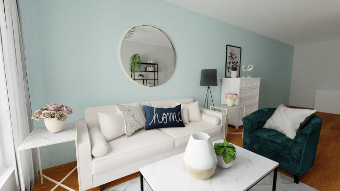 Aqua Accents: Urban Coastal Living Room Design View 3 By Spacejoy