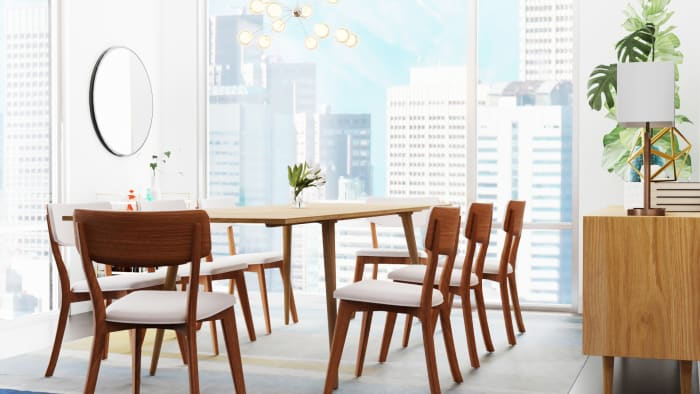 Vibrant and Open Floor Mid-Century Modern Dining Room Design Design View 4 By Spacejoy