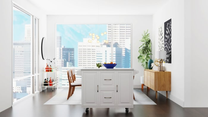 Vibrant and Open Floor Mid-Century Modern Dining Room Design Design View 3 By Spacejoy