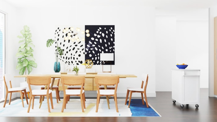 Vibrant and Open Floor Mid-Century Modern Dining Room Design Design View 2 By Spacejoy