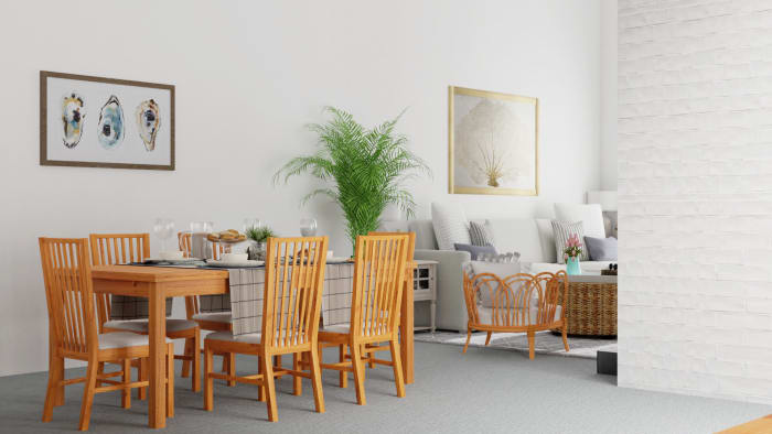 Open Themed Coastal Living Room With Dining Space Design View 3 By Spacejoy