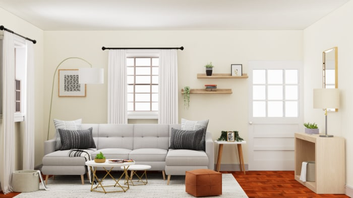 Playing with Neutrals: Mid- Century Urban Living Room Design View 2 By Spacejoy