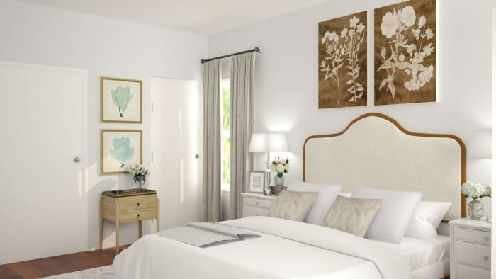 Airy Color Palette: French Country Bedroom Design View 2 By Spacejoy