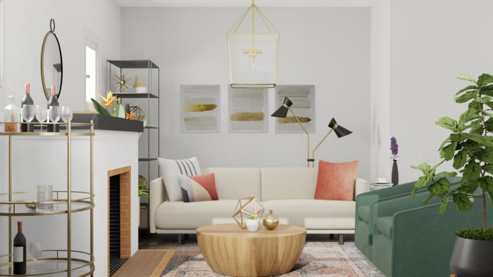 Combining Brass + Black Metals: Modern Glam Living Room Design View 3 By Spacejoy